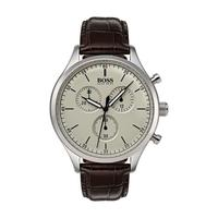 Hugo Boss Men's Watch COMPN Analog Beige Dial Brown  Leather Band 42mm  Case