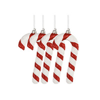 Candy Cane Red& White Set Of 4 13CM