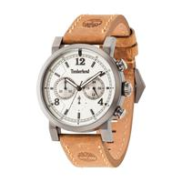 Timberland Men's Watch Templeton Analog Beige Dial Beige Leather Band 43mm Case