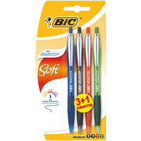 BIC Atlantis Soft Ball Pens Medium Point (1.0 mm) - Assorted Colours, Pack of (3+1)