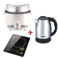 Crownline Bundle Hot Plate+Electric Kettle+Rice Cooker