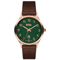 Lee Cooper Men's Analog Rose Gold Case Brown Leather Strap Green Dial -LC06296.472