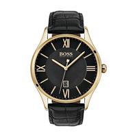 Hugo Boss Men's Watch GOVNR Analog Black Dial Black Leather Band 43mm  Case