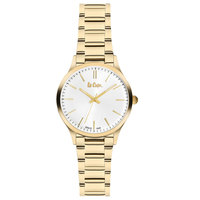 Lee Cooper Women's Analog Gold Case Gold Super Metal Strap Silver Dial -LC06300.130