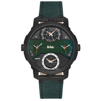 Lee Cooper Men's Analog Black Case Green Leather Strap Green Dial -LC06245.350