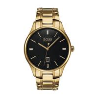 Hugo Boss Men's Watch GOVNR Analog Black  Dial Gold  Metal Band 44mm  Case
