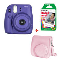 Fujifilm Instax Camera Mini 8 Grape + Case + Film