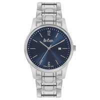 Lee Cooper Men's Analog Silver Case Silver Super Metal Strap Blue Dial -LC06324.130