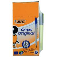 Bic Cristal Medium Blue Box50 + Yellow Highlighter