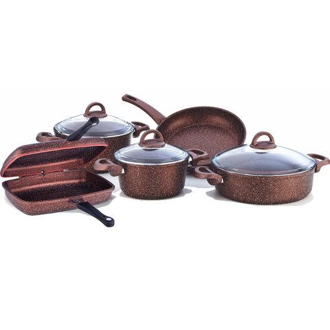 Granite-9Pcs-Mocha-Double-Frypan-Cooking-Set