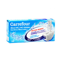 Carrefour WC Cleaning Blocks Blue Water 40GR X2