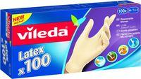 Vileda Disposable Latex Gloves 100 Pieces Medium
