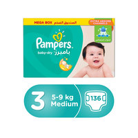 Pampers Baby-Dry Diapers Size 3 Midi 5-9kg Mega Box 136 Count