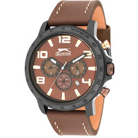 Slazenger Men's Multifunction Display Brown Dial Brown Leather Strap - SL.9.6009.2.04