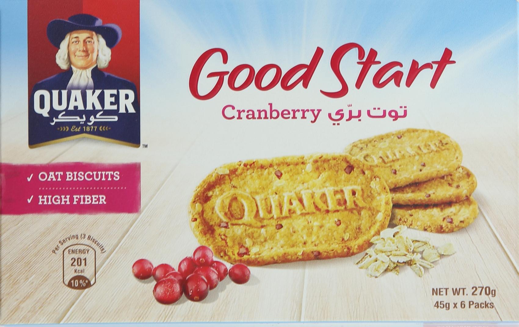 Buy Quaker Good Start Cranberry Biscuits 45gx6 Online In Uae Instant Oatmeal Jar 1 Carton 12 Pcs P Cranbry