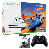 Microsoft Xbox One S 500GB Forza 3 Hot Wheels Pack+Forza 7 Game+2 Wireless Controllers(White&Black)