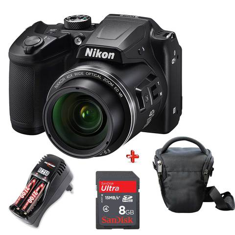 Nikon-Camera-Coolpix-B500-Black-+-8GB-Card-+-Case-+-Battery-Charger