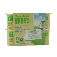 Carrefour Bio Yoghurt Whole Milk Natural 125g x 12