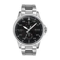 Hugo Boss Men's Watch Aviator Analog Black Dial Silver  Metal Band 44mm  Case