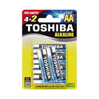 Toshiba Alkaline Blue AA 6 Batteries 4 + 2 Free