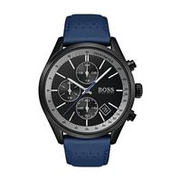 Hugo Boss Men's Watch GRAND Analog Black  Dial Blue Leather Band 44mm  Case