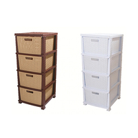 Commode Rattan With 4 Drawers