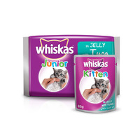 WHISKAS® In Jelly with Tuna Wet Cat Food Kitten Up to 1 year Pouch 85g x 4pack