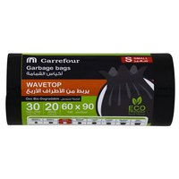 Carrefour Trash Bags With Wavetop 20 pieces 30 gallons