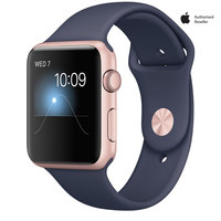 Apple Watch Series-1 42mm Rose Gold Aluminium Case With Midnight Blue Sport Band