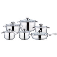 Cooking Set Stainless Steel With Induction Bottom 12Pcs