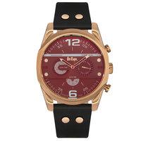 Lee Cooper Men's Multi-Function Rose Gold Case Black Leather Strap Black Dial -LC06176.451