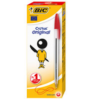 Bic Cristal Medium Red Pen 10Pcs
