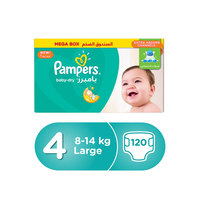 Pampers Baby-Dry Diapers Size 4 Maxi 8-14 kg Mega Box 120 Count