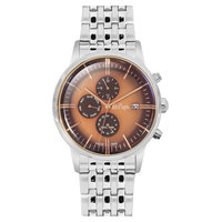 Lee Cooper Men's Multi-Function Silver Case Silver Super Metal Strap Brown Dial -LC06268.340