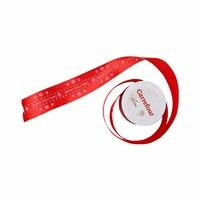 شرائط لزينة عيد الميلاد المجيد لون أحمر وفضي قياس 3.8 سنتيمتر
