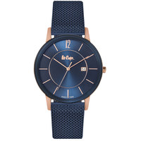 Lee Cooper Men's Analog TT Blue Case Blue Super Metal Strap Blue Dial -LC06325.990