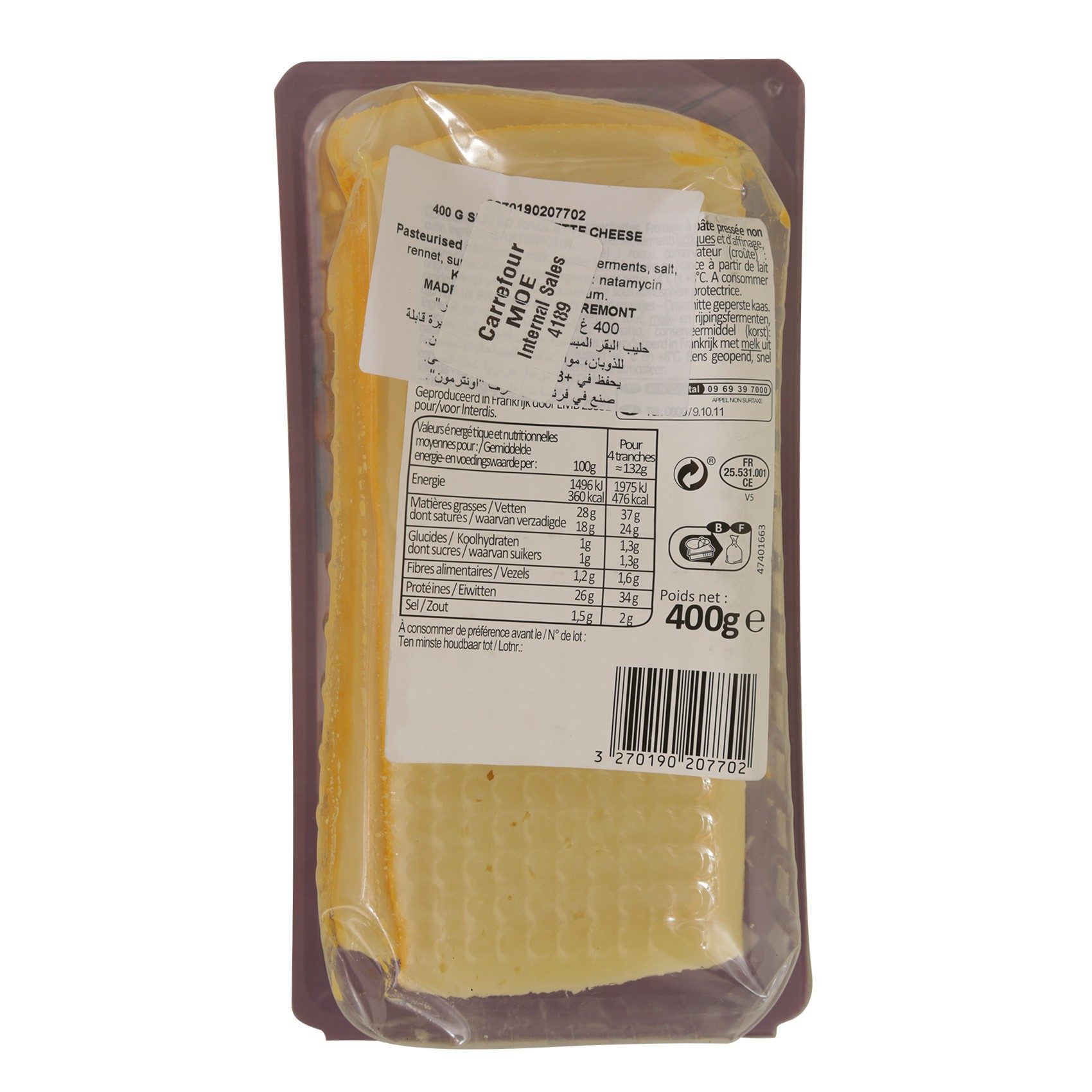 CRF SLICED RACLETTE CHEESE 400G