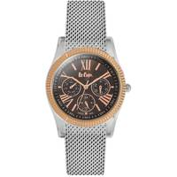 Lee Cooper Women's Multi-Function Silver Case Silver Super Metal Strap Brown Dial -LC06323.390