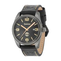 Timberland Men's Watch Jaffrey Analog Black Dial Dark Brown Leather Band 46mm Case