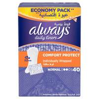 Always Daily Liners Comfort Protect Normal Individually Wrapped 40 Count