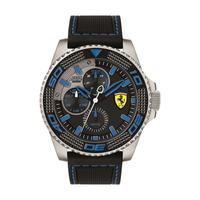 Scuderia Ferrari Men's Watch KERS Xtreme Analog Black And Blue Dial Black Silicon Band 48mm Case