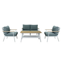 Belle White Aluminium Coffee Set 4Pcs With Cushions