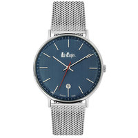Lee Cooper Men's Analog Silver Case Silver Super Metal Strap Blue Dial -LC06382.490