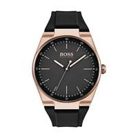 Hugo Boss Men's Watch MAGTE Analog Black  Dial Black  Rubber Band 42mm  Case
