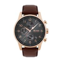 Hugo Boss Men's Watch Navigator Analog Grey Dial Brown Leather Band 44mm  Case