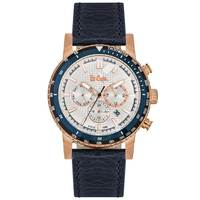 Lee Cooper Men's Multi-Function Gold Case Blue Leather Strap Silver Dial -LC06166.939