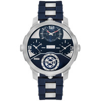 Lee Cooper Men's Analog Silver Case Blue Resin Strap Blue Dial -LC06223.399