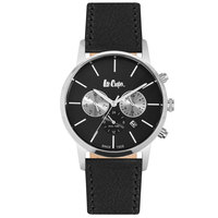 Lee Cooper Men's Multi-Function Silver Case Black Leather Strap Black Dial -LC06341.351
