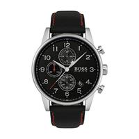 Hugo Boss Men's Watch NAVTR Analog Black  Dial Black  Fabric  Band 44mm  Case