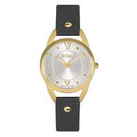 Lee Cooper Women's Analog Gold Case Black Leather Strap Silver Dial -LC06374.131